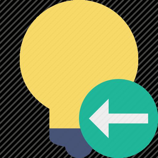bulb, idea, light, previous, tip icon