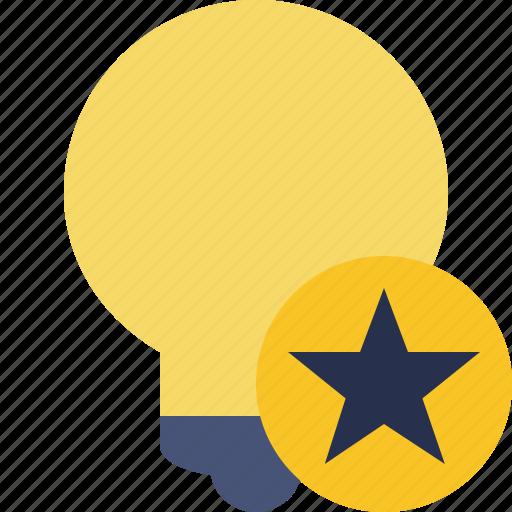 bulb, idea, light, star, tip icon