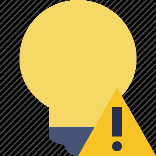 bulb, idea, light, tip, warning icon