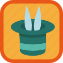 achievement, badge, focus, gamification, hat, rabbit icon
