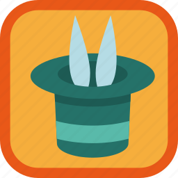 achievement, badge, focus, gamification, hat, rabbit icon