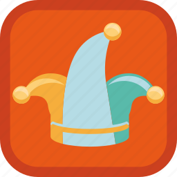 badge, clown, fool, gamification, hat, jester icon