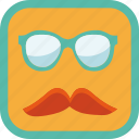 badge, gamification, glasses, hipster, moustache, smart icon