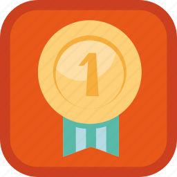badge, first, gamification, golden, medal, place icon