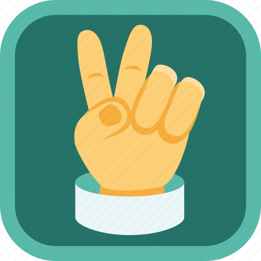 badge, finger, gamification, hand, peace, victory icon