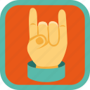badge, finger, gamification, hand, rock icon