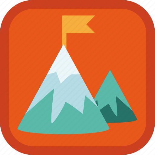 badge, flag, gamification, mountain, peak, top icon