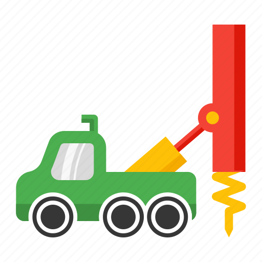 drill, oil, rig, truck, well icon