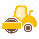 compact, compactor, foundation, road, roller icon