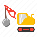 ball, crane, demolishing, heavy, wrecking icon