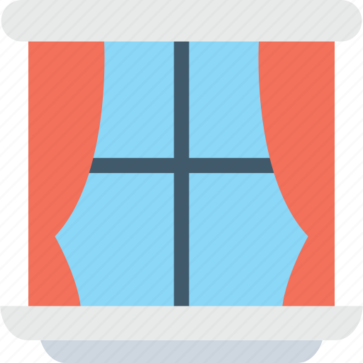 curtain, interior decoration, room window, window, window frame icon