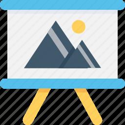 chalkboard, easel, landscape, presentation board, whiteboard icon