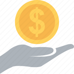 banking, commerce, dollar, hand, payment icon