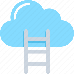 cloud, cloud computing, cloud hosting, ladder, networking icon