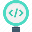 analysis, code review, development, html codes, magnifier