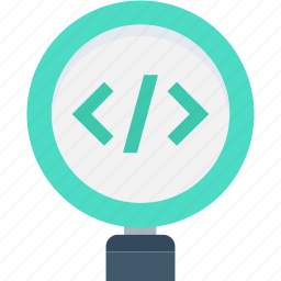 analysis, code review, development, html codes, magnifier icon