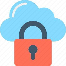 cloud computing, cloud storage, lock, safe network, secure network icon