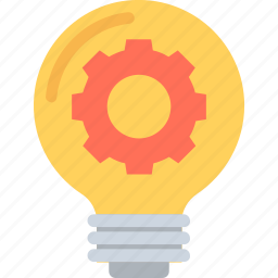 bulb, creativity, gear, idea, innovation icon