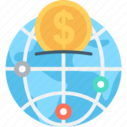 dollar sign, global business, globe, international banking, world bank icon