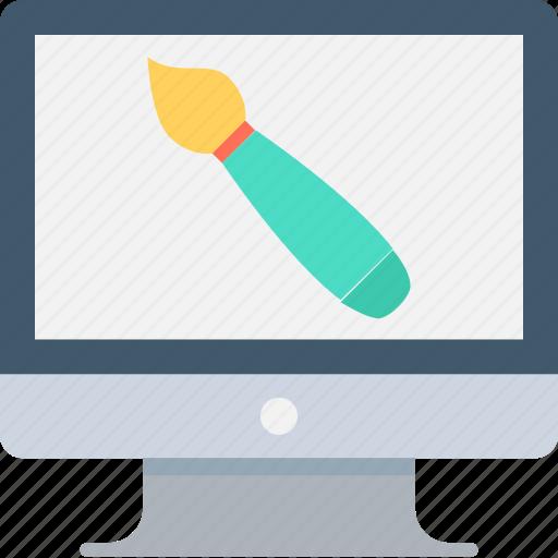 computer graphics, monitor, paintbrush, web design, web designing icon