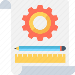 content writing, document, gear, pencil, seo icon