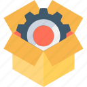 cardbox, gearwheel, marketing, merchandising, selling icon