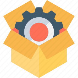 cardbox, gearwheel, marketing, merchandising, selling icon