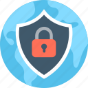 digital security, globe, internet security, network protection, shield icon