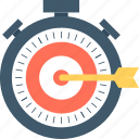 dart arrow, goal, marketing strategy, stopwatch, success icon