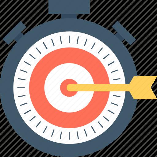 dart arrow, goal, marketing strategy, stopwatch, success icon