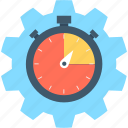 cog, deadline, reminder, schedule, stopwatch icon