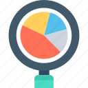 analysis, magnifier, marketing, pie chart, statistics icon