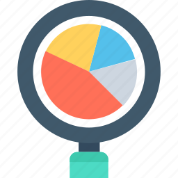 analysis, magnifier, marketing, pie chart, statistics icon
