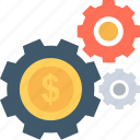 cog, dollar, economy, gears, investment plan icon