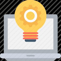 development, idea, laptop, light bulb, startup icon