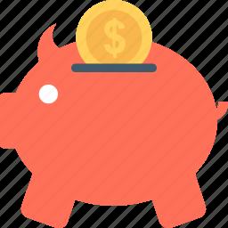 deposit, dollar, finance, piggy bank, savings icon