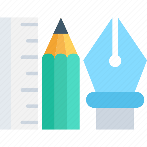 designing tools, pen, pencil, ruler, stationery icon