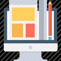 computer graphics, monitor, web design, web designing, web layout icon
