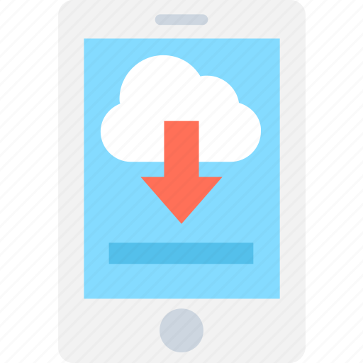 cloud computing, cloud drive, downloading, mobile, mobile network icon