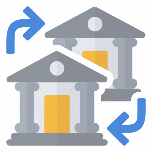 bank, exchange, flow, institution, money, transaction icon