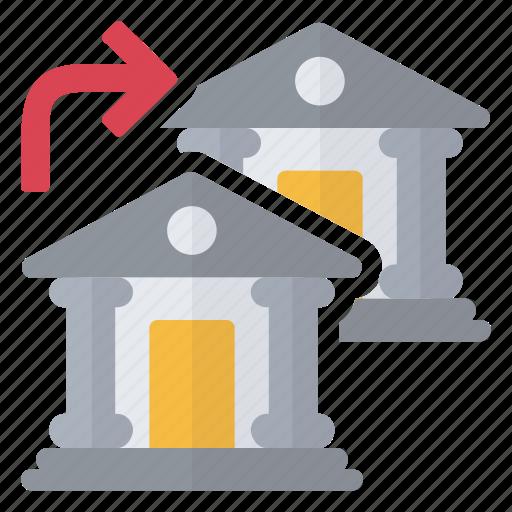 bank, flow, money, movement, transfer, trend icon
