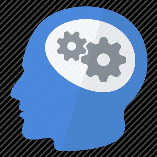 brain, business, efficiency, efficient, gears, intelligence, smart icon