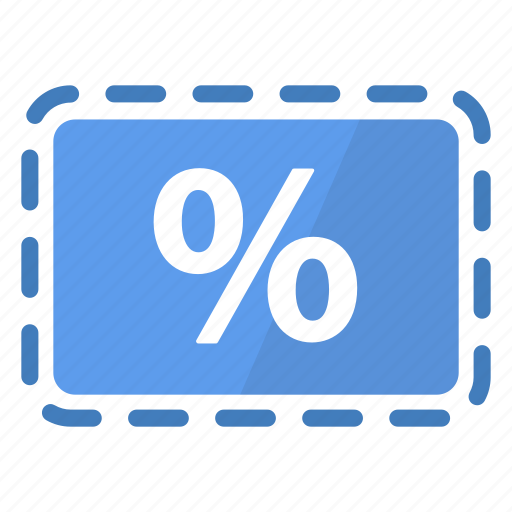 blue, coupon, deal, percentage, promo, reduction, sale icon