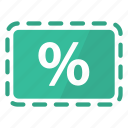 coupon, deal, green, percentage, promo, reduction, sale icon