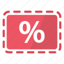 coupon, deal, percentage, promo, red, reduction, sale icon