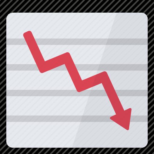 bearish, decrease, graph, sales icon