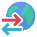data, earth, export, import, information, world icon