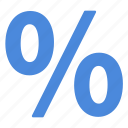 blue, percentage, rate icon