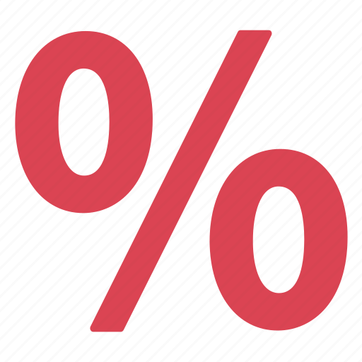 percentage, rate, red icon