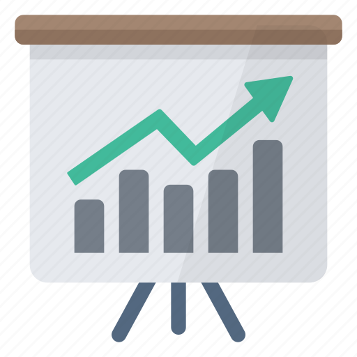 blackboard, business, charts, graph, presentation icon